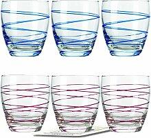 Montana WH Becher :swirl 6/Set farbig sortiert inkl. 6 Dekokaufhaus Untersetzer, Whiskybecher, Fuchsia Blau