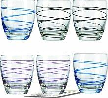Montana WH Becher :swirl 6/Set farbig sortiert inkl. 6 Dekokaufhaus Untersetzer, Whiskybecher Saftbecher Gläser