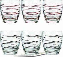 Montana WH Becher :swirl 6/Set farbig sortiert inkl. 6 Dekokaufhaus Untersetzer, Whiskybecher, Schwarz Ro