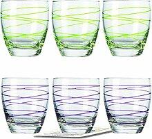 Montana WH Becher :swirl 6/Set farbig sortiert inkl. 6 Dekokaufhaus Untersetzer, Whiskybecher, Lila Grün