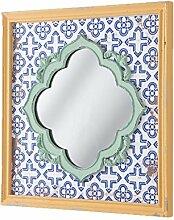 Montemaggi aml111Vintage Bilderrahmen quadratisch mit Spiegel, Holz, orange/grün, 48x 2.5x 48cm