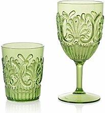 Montemaggi Barock Set Stielglas und Trinkglas, Kristall Kunststoff, Grün, 2Einheiten
