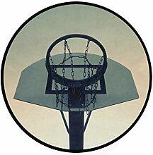 MONTOJ Basketballkorb, rund, rutschfeste Fußmatte