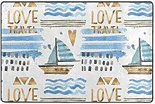MONTOJ Blaue Segelboot-Malerei Muster Bodenmatte