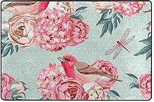 MONTOJ Bodenmatten mit Vögeln und Blumen-Muster,