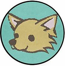 MONTOJ Dog Spitz Teppich, rund, rutschfest, für