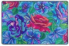 MONTOJ Fußmatte mit Blumenmuster, wetterfest,