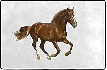 MONTOJ Fußmatte mit braunem Pferd, weißer