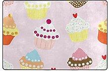 MONTOJ Fußmatte mit Cupcake-Muster, wetterfest,