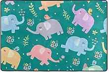 MONTOJ Fußmatte mit Elefanten und Vögeln,