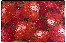 MONTOJ Fußmatte mit Erdbeeren-Motiv, wetterfest,