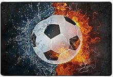 MONTOJ Fußmatte mit Fußball-Motiv, wetterfest,