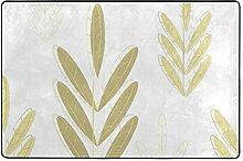 MONTOJ Fußmatte mit Goldenem Blumen-Design,