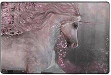 MONTOJ Fußmatte mit Kirschblüten, Einhorn,