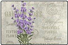 MONTOJ Fußmatte mit Lavendelrosen-Motiv,