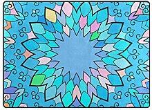 MONTOJ Fußmatte mit Mandala-Muster, Blau,