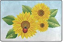 MONTOJ Fußmatte mit Marienkäfer in Sonnenblumen