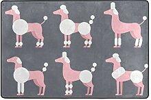MONTOJ Fußmatte mit pinkem Pudel-Muster,