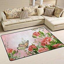 MONTOJ Fußmatte mit rosa Rosen und