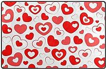 MONTOJ Fußmatte mit rotem Herz-Muster, sehr