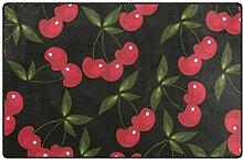 MONTOJ Fußmatte mit rotem Kirsch-Muster, sehr