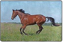 MONTOJ Fußmatte mit rotem Pferd auf Gras,