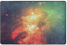 MONTOJ Fußmatte mit roter Galaxie, sehr weich,