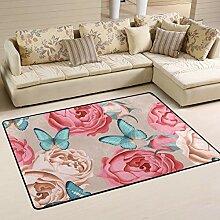 MONTOJ Fußmatte mit Schmetterlingen und Blumen,