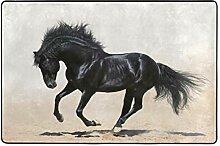 MONTOJ Fußmatte mit schwarzem Pferd, Wetterfest,