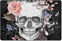 MONTOJ Fußmatte mit Totenkopf- und Blumen-Motiv -