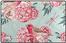 MONTOJ Fußmatte mit Vögeln und Blumen, für