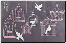 MONTOJ Fußmatte mit Vogelkäfig und Tauben-Motiv,