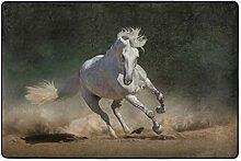 MONTOJ Fußmatte mit weißem Pferd, Wetterfest,
