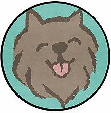 MONTOJ Hund lächelnder, runder Teppich,