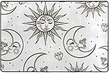 MONTOJ Kunstmalerei Sonne Mond Fußmatte Bereich