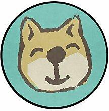 MONTOJ lächelnder Hund Teppich, rund, rutschfest,