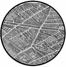 MONTOJ Paris Teppich, rund, rutschfest, für