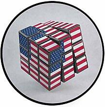 MONTOJ Rubiks Teppich, rund, rutschfest, für
