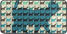 MONTOJ-Teppich, Bunte Katzen mit gebogenen