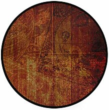 MONTOJ Teppich/Fußmatte, rund, rutschfest, für