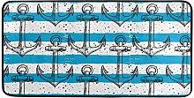 MONTOJ Teppich mit Ankern, blau-weiß gestreift,