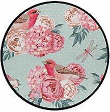 MONTOJ Teppich mit Vögeln und Blumen, rund,