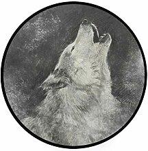 MONTOJ Wolf Heulendes Skizziermuster, rund,