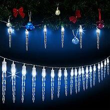 Monzana 80 LED Lichterkette Eiszapfen I Blau I