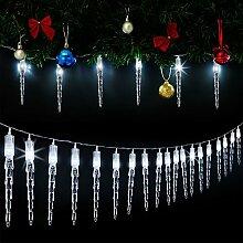 Monzana 80 LED Lichterkette Eiszapfen I Kaltweiß