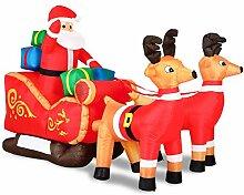 Monzana Aufblasbarer Weihnachtsmann mit Schlitten