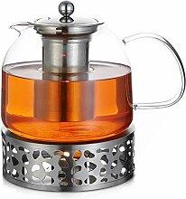 Monzana Teekanne Glas 1,5 L mit Stövchen Set
