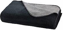 Moon Luxus Doubleface Kuscheldecke Wolldecke 150x200-schwarz/anthrazi