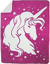 Moon Luxus Kuscheldecke Wolldecke Wohndecke Baumwolldecke Einhorn 150x200 (pink)