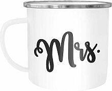 Moonworks® Emaille-Tasse Aufdruck Mr Mrs
